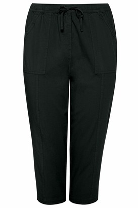 Yours Womens Lightweight Cotton Summer Cropped Trouser Black Clothing Size 16-32