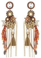 Deepa Gurnani Fashion Jewellery Carnelian and Drop Chain Tassel Earrings