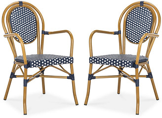 One Kings Lane Set of 2 Sierra Outdoor Stacking Armchairs - Navy/White