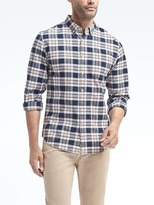Banana Republic Grant Slim-fit Cotton-stretch Plaid Oxford Shirt