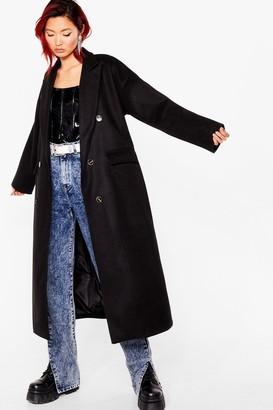 Nasty Gal Womens Double It Up Faux Wool Longline Coat - Black