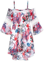 Amy Byer Belted Floral-Print Off-The-Shoulder Dress, Big Girls (7-16)