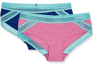 Iris & Lilly Women's Briefs with Contrast Linear Lace, Pack of 2,Small