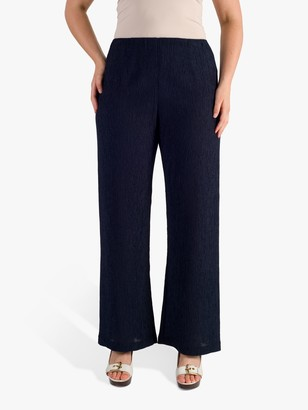 Chesca Textured Crinkle Trousers, Navy