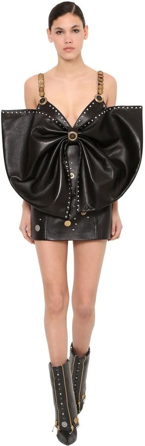Fausto Puglisi Detachable Bow Leather Mini Dress