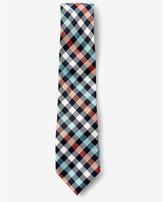 Express checked narrow silk tie