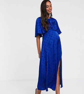 Queen Bee satin midi dress with angel sleeve in cobalt