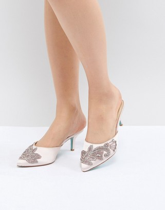 Betsey Johnson Blue By Blue By Betsy Johnson Blush Coset Embellished Heeled Wedding Mules-Pink