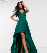 Bariano high low prom dress with full organza detail in emerald green