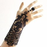 Fashion Elegant Bridal Women Black Beaded Embroidered Lace Flower Bangle Bracelet with Ring Wedding Party