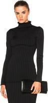 Victoria Beckham Elite Viscose Wide Rib Polo Neck Sweater