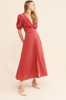 Glamorous Puff Sleeve Ruched Maxi Dress