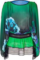 Roberto Cavalli Emerald Cut Sleeve Caftan Top