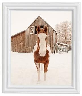 Pottery Barn Barn Horse In Winter by Jennifer Meyers