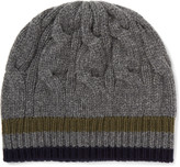Private White V.c. - Stripe-trimmed Cable-knit Cashmere Beanie