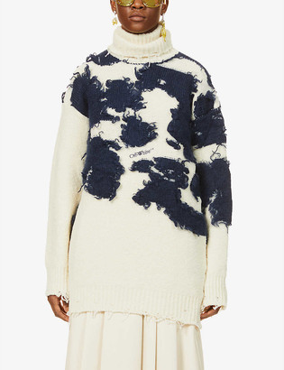 Off-White Moo turtle-neck cow-print wool-blend jumper