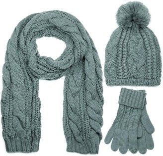 styleBREAKER scarf cap and glove set braid pattern knit scarf with Bobble Cap and gloves women 01018208 color:Gray/Scarf