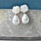 Gama Weddings Carved Rose Drop Earrings