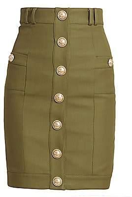 Balmain Women's Button Front Pencil Skirt