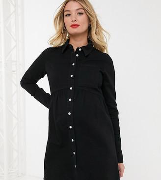 ASOS DESIGN Maternity denim shirt dress in black