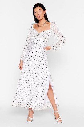 Nasty Gal Womens Nothing Can Spot Us Metallic Puff Sleeve Dress - White - 4