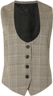 Nili Lotan Plaid-Check Wool Waistcoat