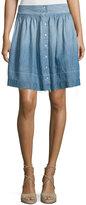 Current/Elliott The Flirt Snap-Front Chambray Skirt, Lucky Horse