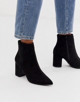 New Look faux suede pointed heeled boots in black