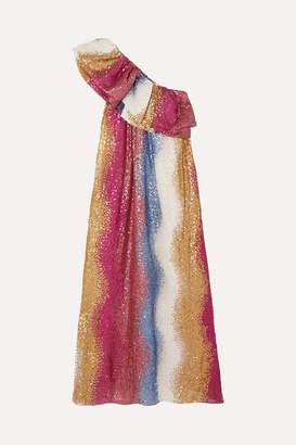Stine Goya + Net Sustain Janika One-shoulder Striped Sequined Silk Gown - Pink