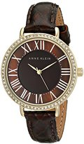 Anne Klein Women's AK/1824BMBN Swarovski Crystal-Accented Gold-Tone Watch with Brown Leather Strap