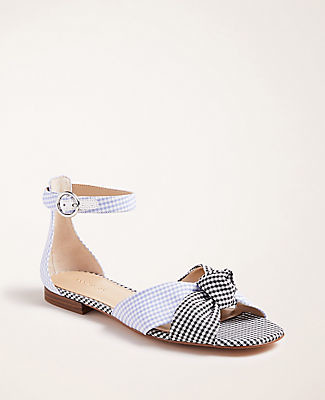 Ann Taylor Juno Gingham Knot Sandals