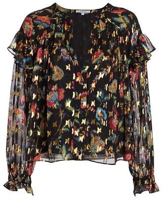 Derek Lam 10 Crosby Lilou Ruffled Puff-Sleeve Floral Blouse