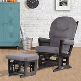 Dutailier Espresso/ Dark Grey Multi-position, Recline Modern Glider and Nursing Ottoman