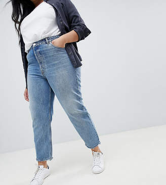 Asos DESIGN Curve Florence authentic straight leg jeans in light stone wash-Blue