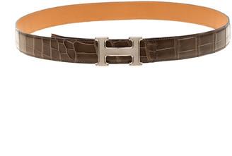 Hermes Elephant Grey Crocodile Guilloche Palladium Hardware H Buckle Belt 105cm