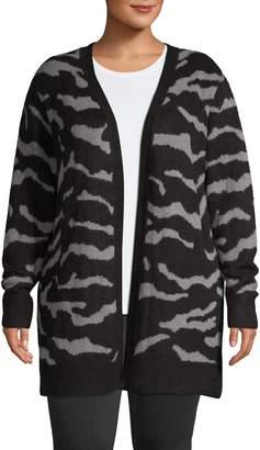 Design Lab Plus Open-Front Zebra-Print Cardigan