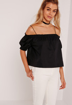 Missguided Petite Exclusive Bardot Strap Crop Top Black