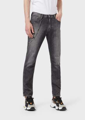 Emporio Armani Slim-Fit J06 Jeans In Vintage-Style, Right-Hand Comfort Denim