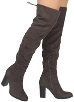 Qupid Charcoal Zinc Over-the-Knee Boot