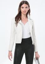 Bebe Leather Pintuck Moto Jacket
