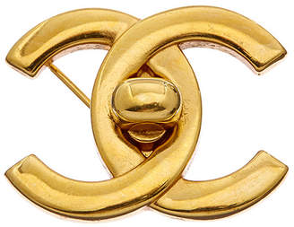 Chanel Gold-Tone Large Cc Turnlock Pin