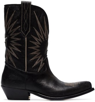 Golden Goose black Wish Star leather cowboy boots