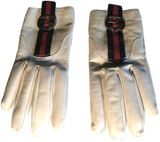 Gucci White Leather Gloves