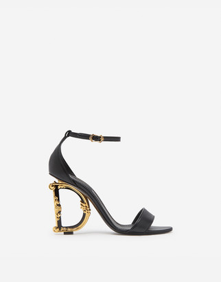 Dolce & Gabbana Nappa Leather Sandals With Baroque Heel