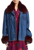Tanya Taylor Jaxson Fox Fur and Denim Jacket