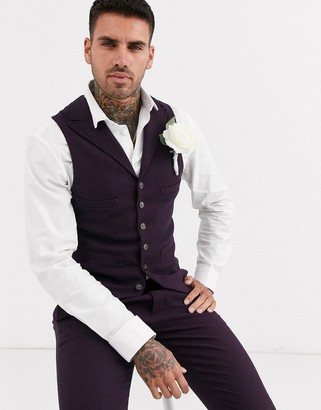ASOS DESIGN wedding super skinny suit waistcoat in wool mix twill in burgundy