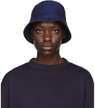 Blue Blue Japan Indigo Twill Piped Brim Bucket Hat