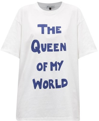 Bella Freud The Queen Of My World-print Cotton-jersey T-shirt - White