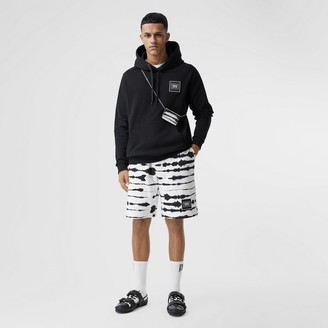 Burberry Watercoour Print Cotton Drawcord Shorts