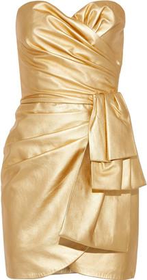 Dundas Strapless Wrap-effect Metallic Leather Mini Dress